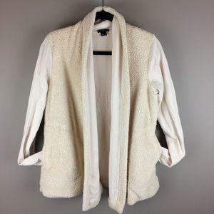 Theory fleece open front cream cardigan w pockets